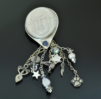 Carved Bone Moon Face Sterling Silver Pendants